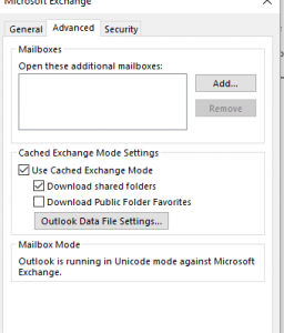 Cached-Exchange-Mode-Settings